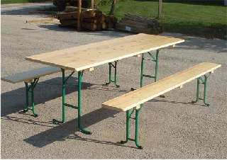 table et banc bois pliables en sapin verni plateau 220x80cm ensemble tables et bancs en bois. Black Bedroom Furniture Sets. Home Design Ideas